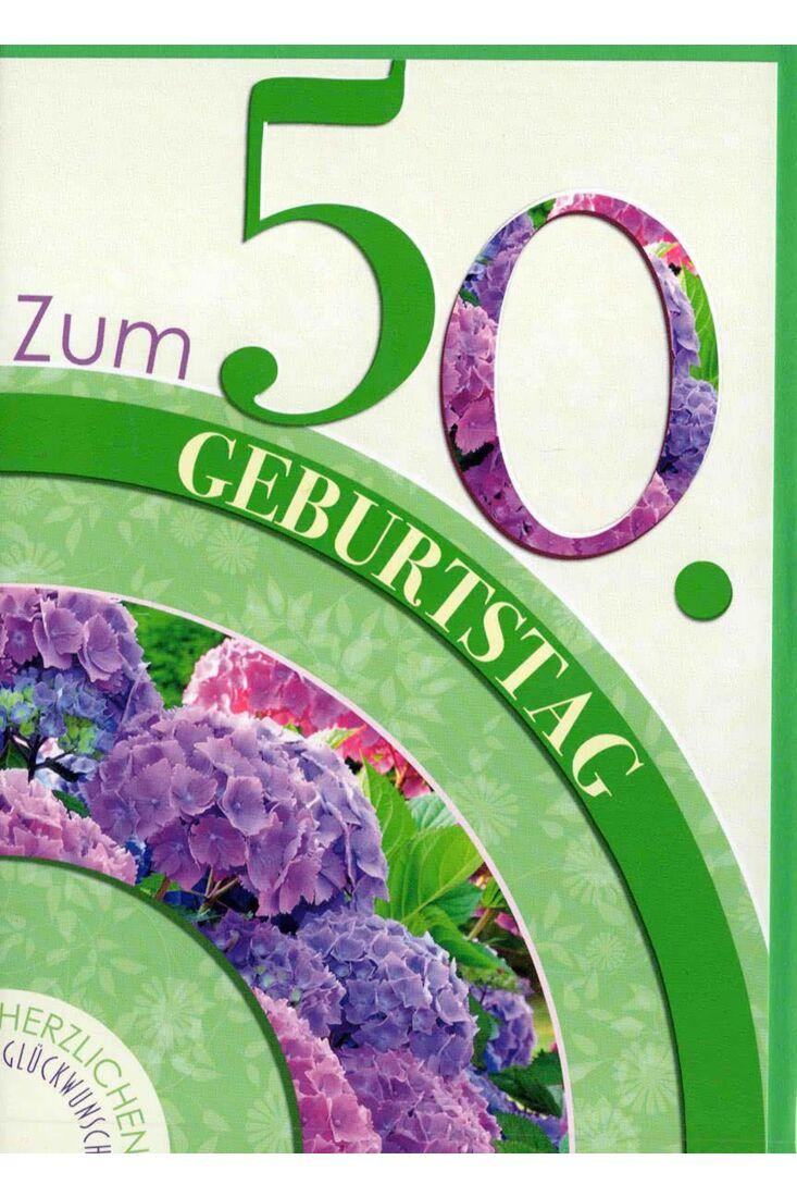 Geburtstagskarte 50. Geburtstag: lila Hortensien