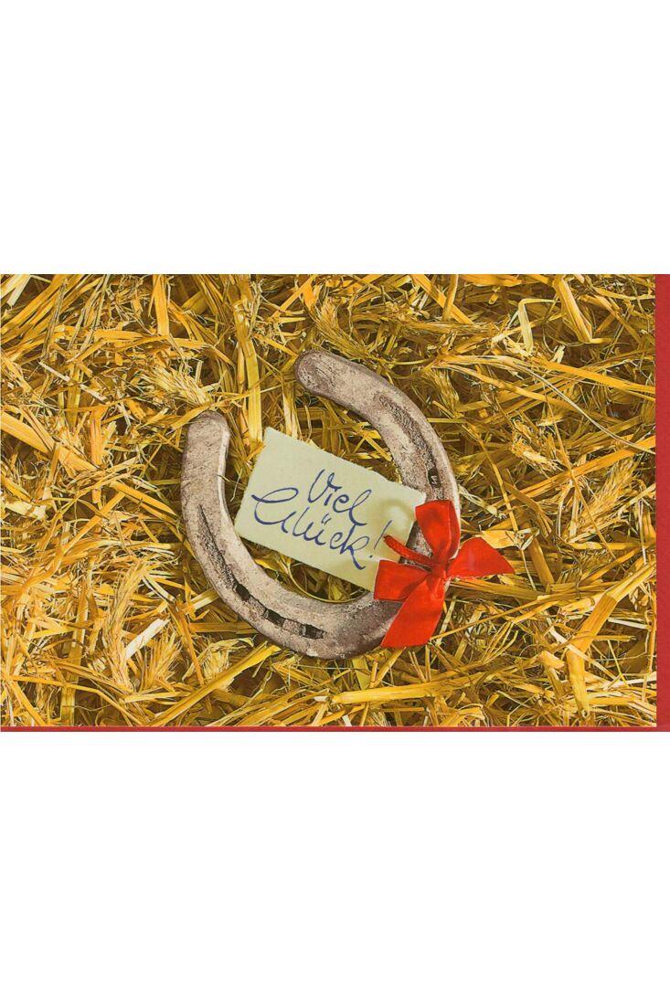 Grußkarte Hufeisen: Viel Glück