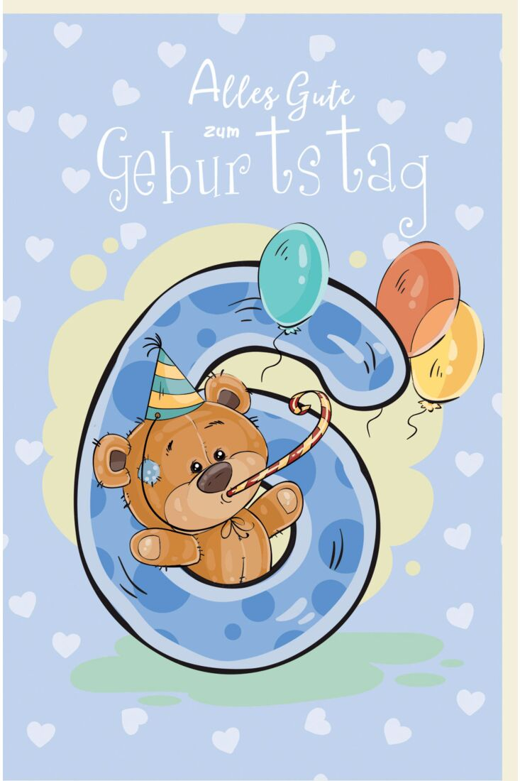 Geburtstagskarte für Kinder Teddybär mit Partyhut und Tröte, Luftballons