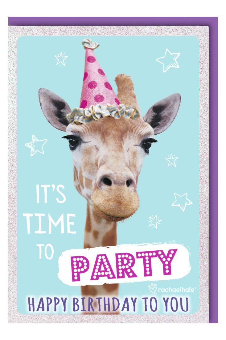Geburtstagskarte lustig Giraffe mit rosa Hütchen