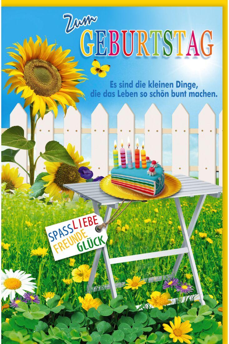 Glückwunschkarte Geburtstag Weißer Gartentisch, Zaun, Sonnenblume, Blumenwiese