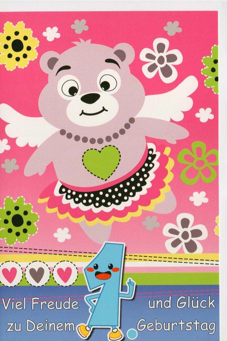 Glückwunschkarte 1 Geburtstag Viel Freude und Glück