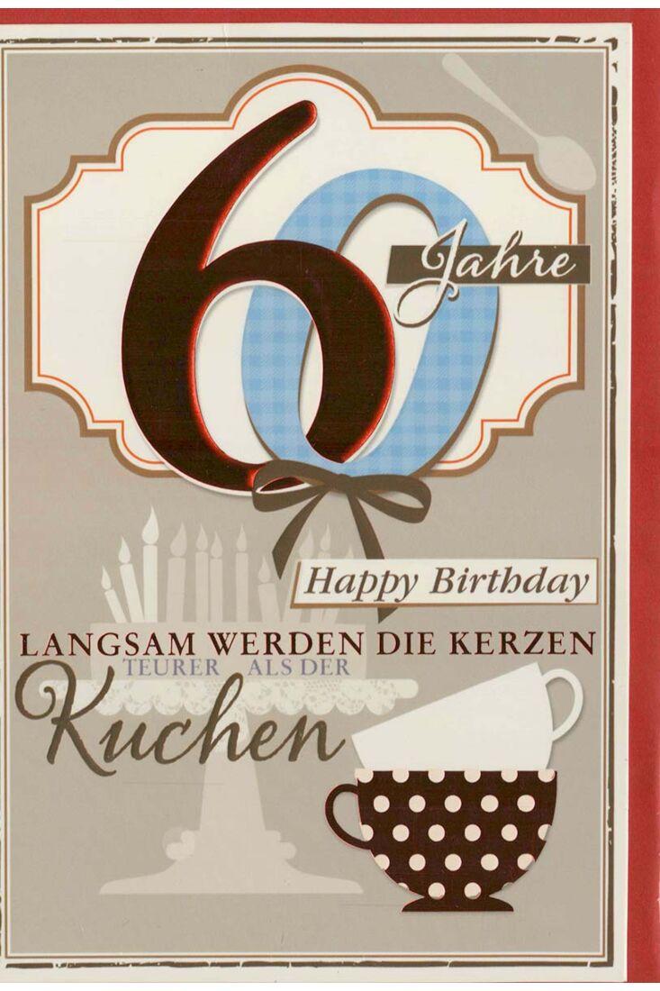 Glückwunschkarte 60 Geburtstag lustiger Spruch