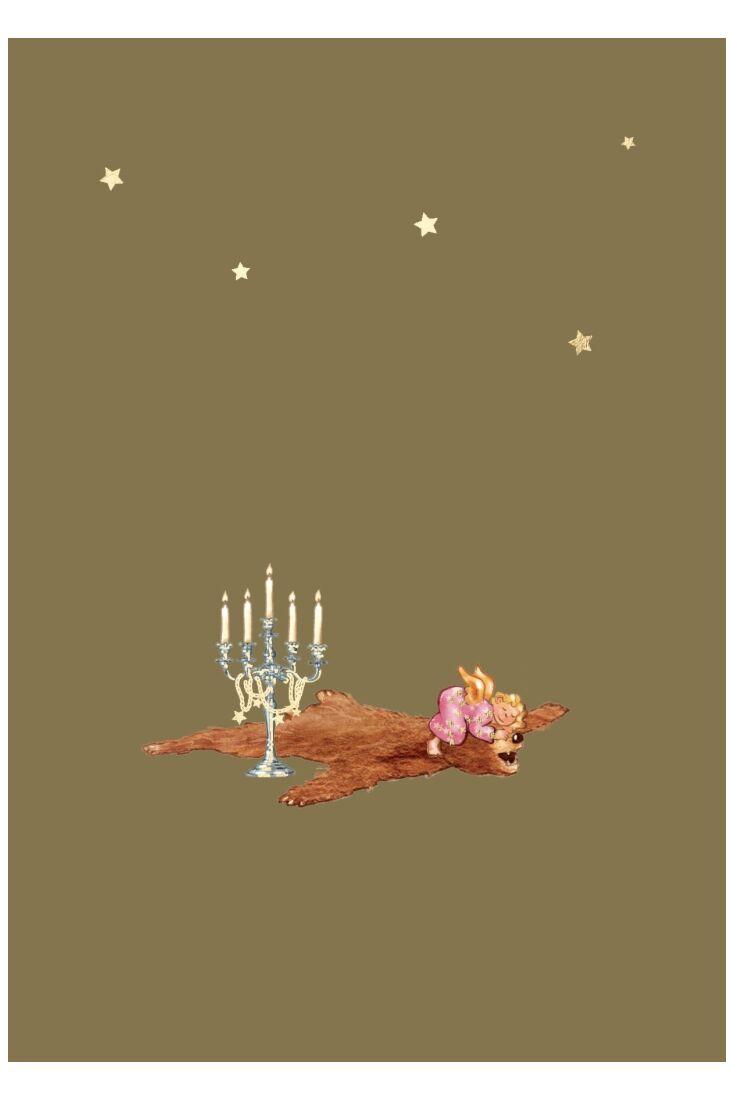 Weihnachtspostkarte Goldfolie Engel auf Bärenfell
