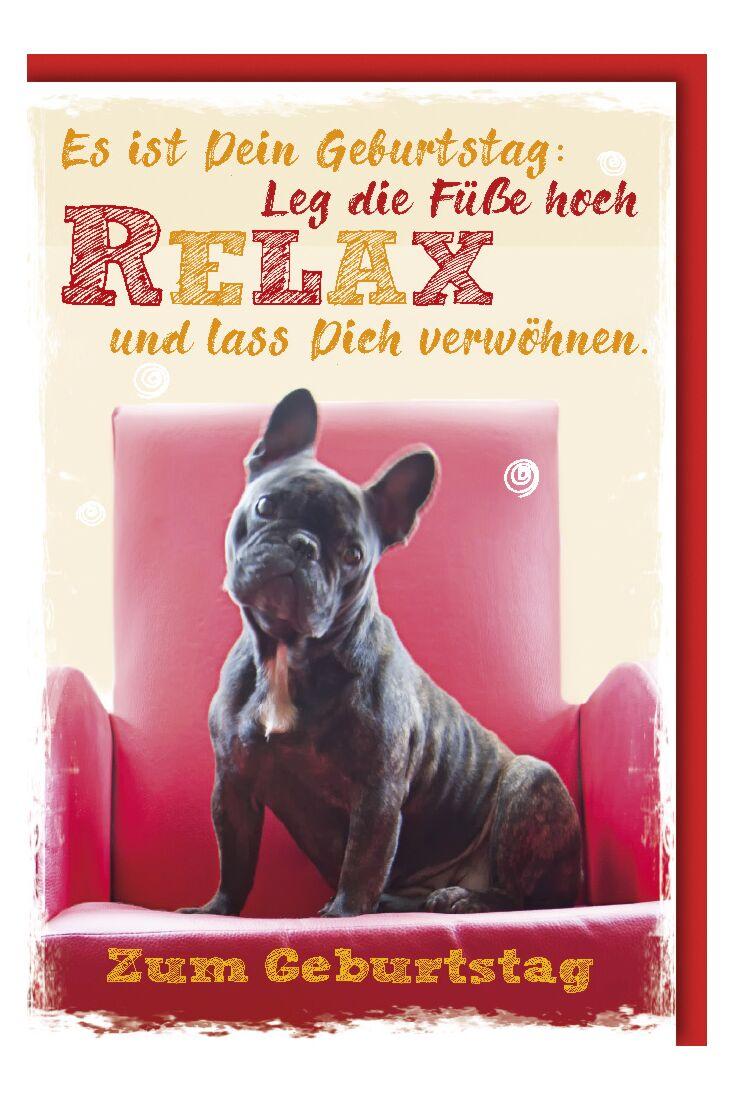 Geburtstagskarte lustig Bulldogge auf rotem Sessel