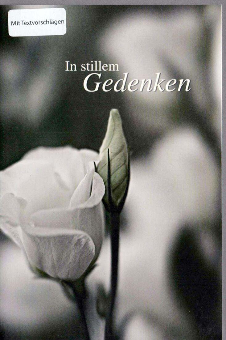 Trauerkarte schwarz weiß In stillem Gedenken