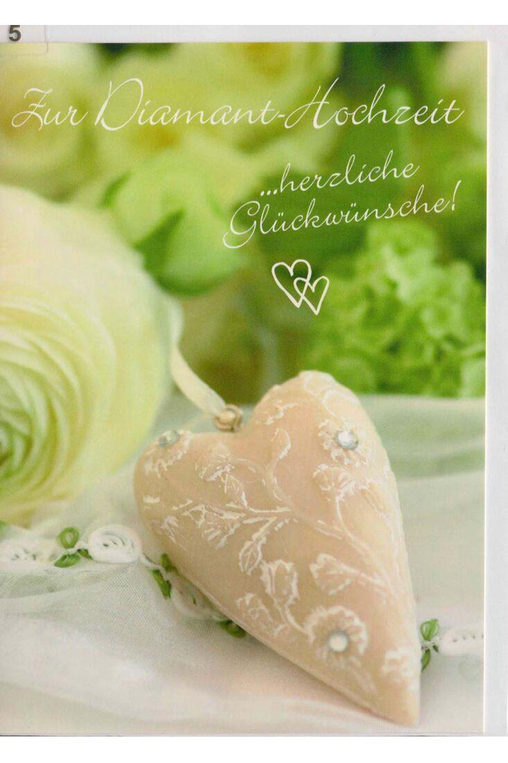 Glückwunschkarte zur Diamant Hochzeit weiß grün