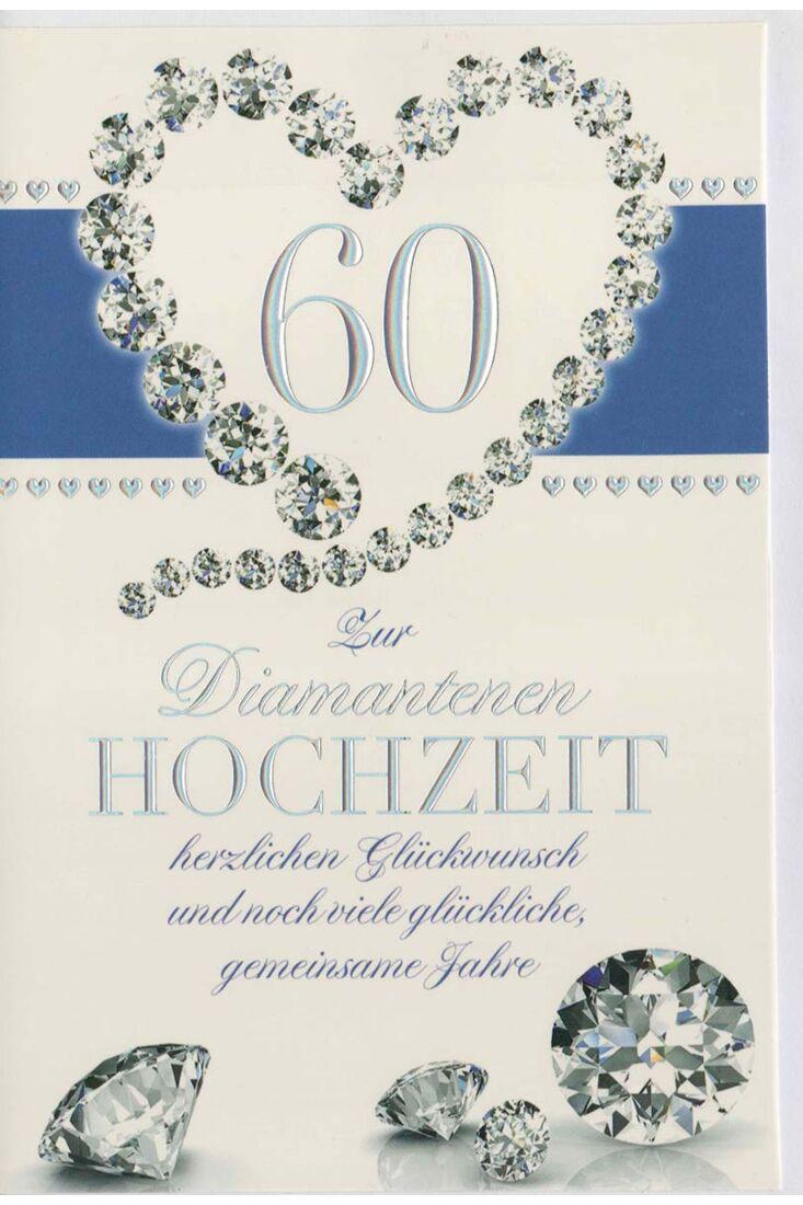 Glückwunschkarte Diamantene Hochzeit Diamantenherz
