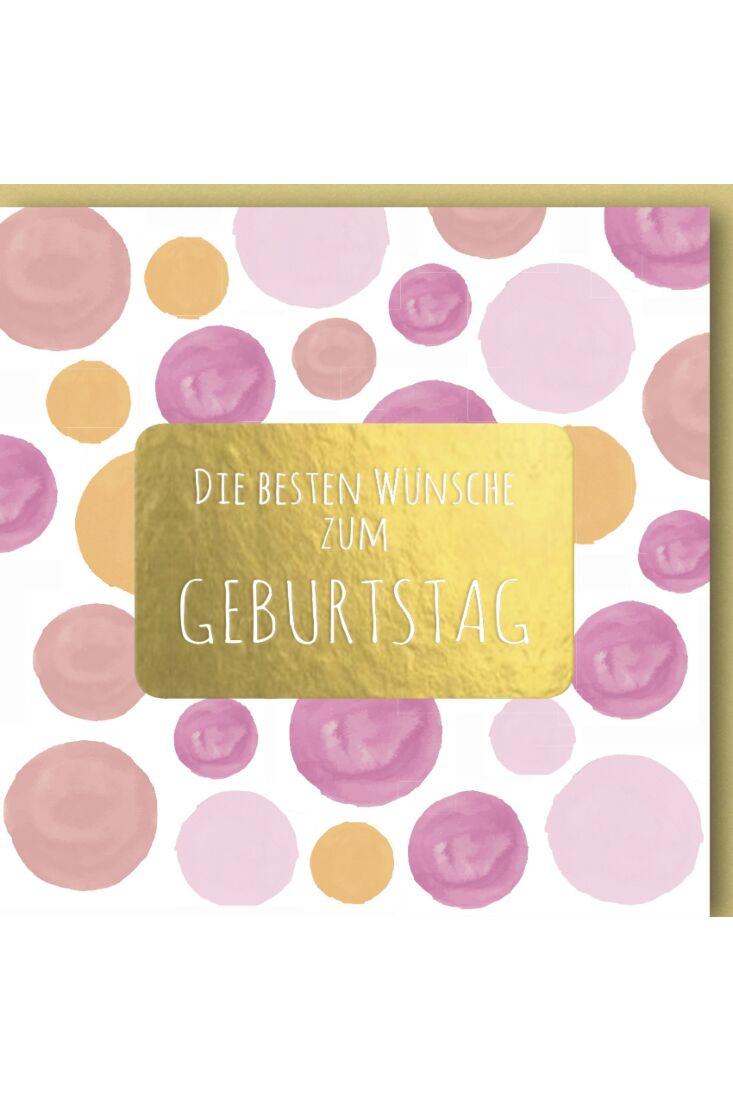 Geburtstagskarte quadratisch Rosa, Gelbe Punkte