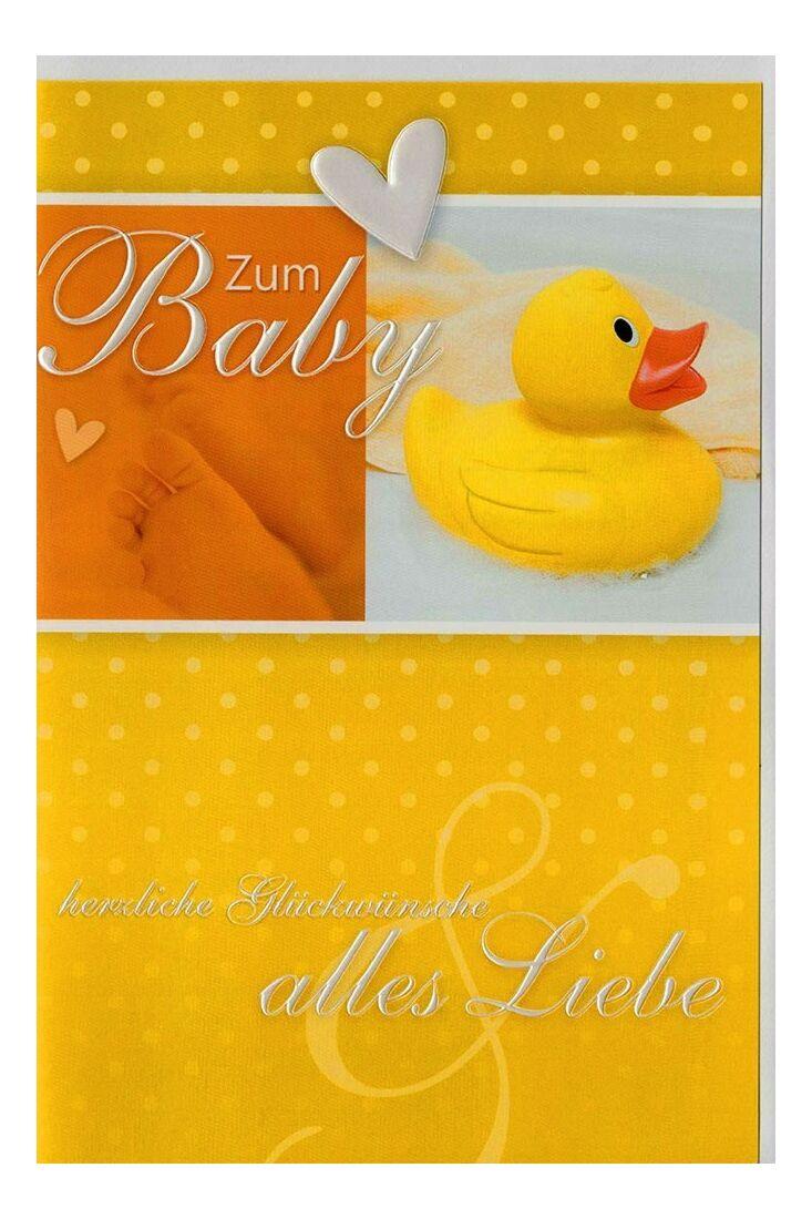 Glückwunschkarte Geburt Ente Silberfolie