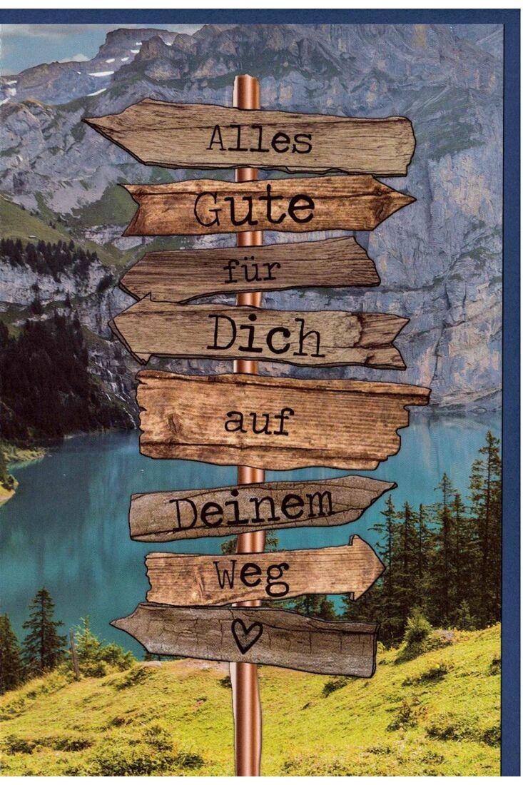Abschiedskarte Holzschild in den Bergen