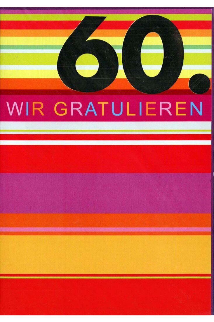 Geburtstagskarte 60. Geburtstag: bunte Streifen