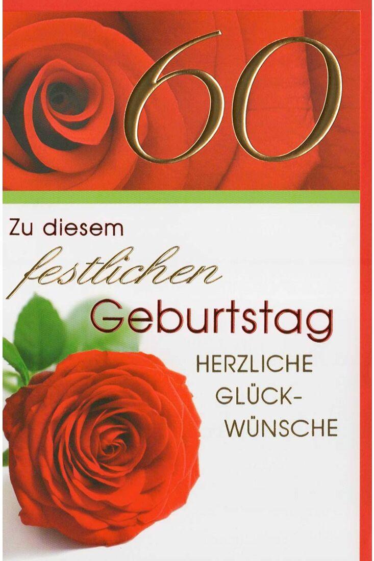 Glückwunschkarte 60 Geburtstag rote Rose