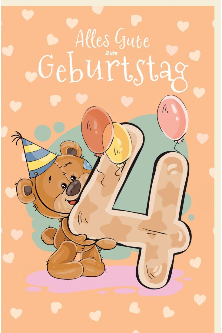 Geburtstagskarte für Kinder Teddybär mit Partyhut, Luftballons