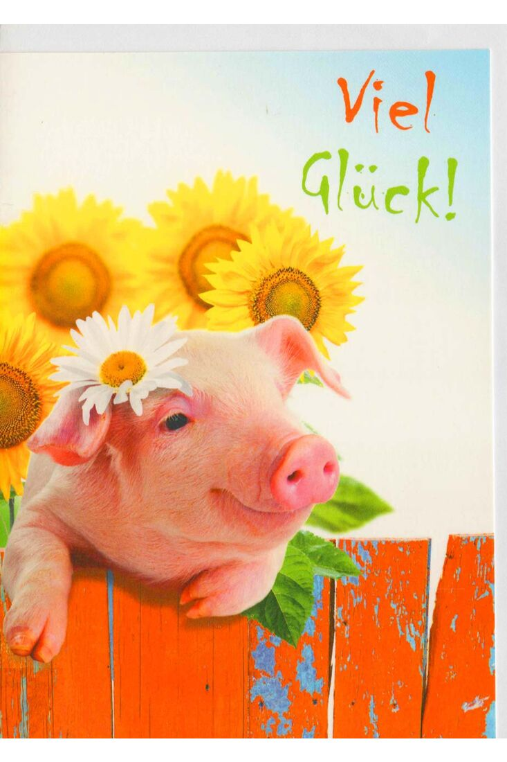 Karte viel Glück Schwein und Sonneblume