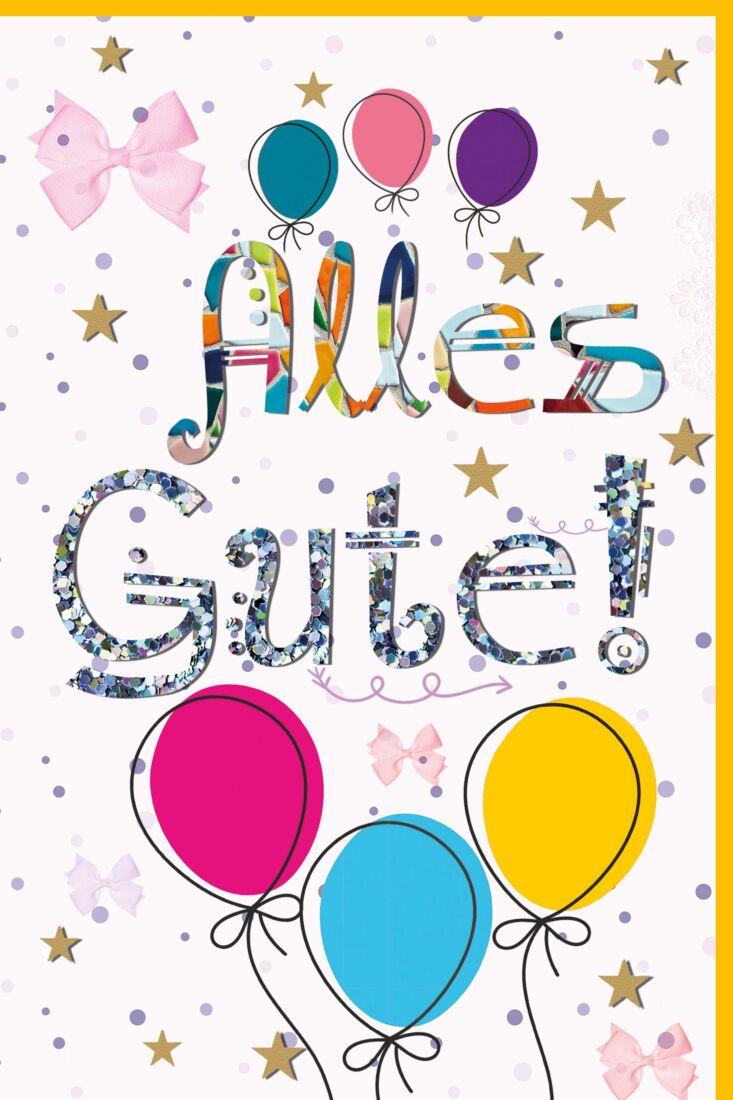 Geburtstagskarte für Kinder Luftballons, Schleifen, Sterne, mit Glimmer
