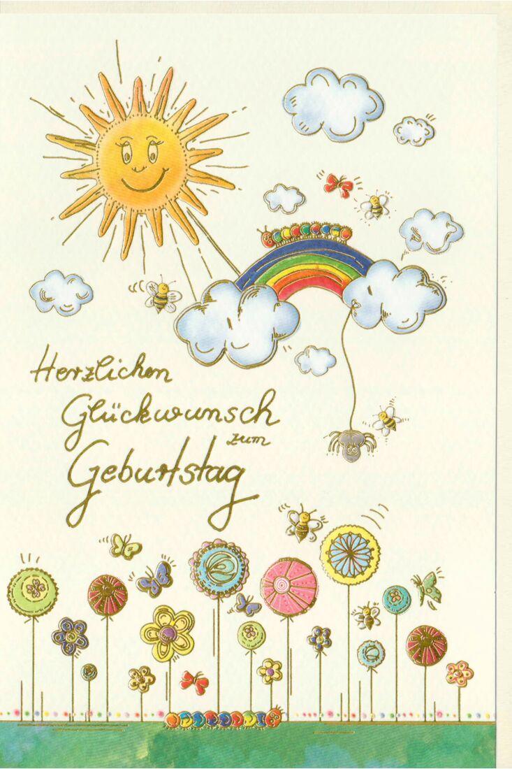 Geburtstagskarte Sonne, Regenbogen, Raupe, Wolken, Blumen, Naturkarton, mit Goldfolie und Blindprägung