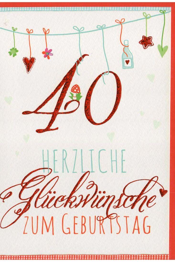 Glückwunschkarte 40 Geburtstag liebevolle Illustration