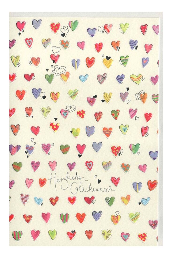 Glückwunschkarten Geburtstag;Glückwunschkarten allgemein Glückwunschkarte Naturkarton kleine Herzen premium