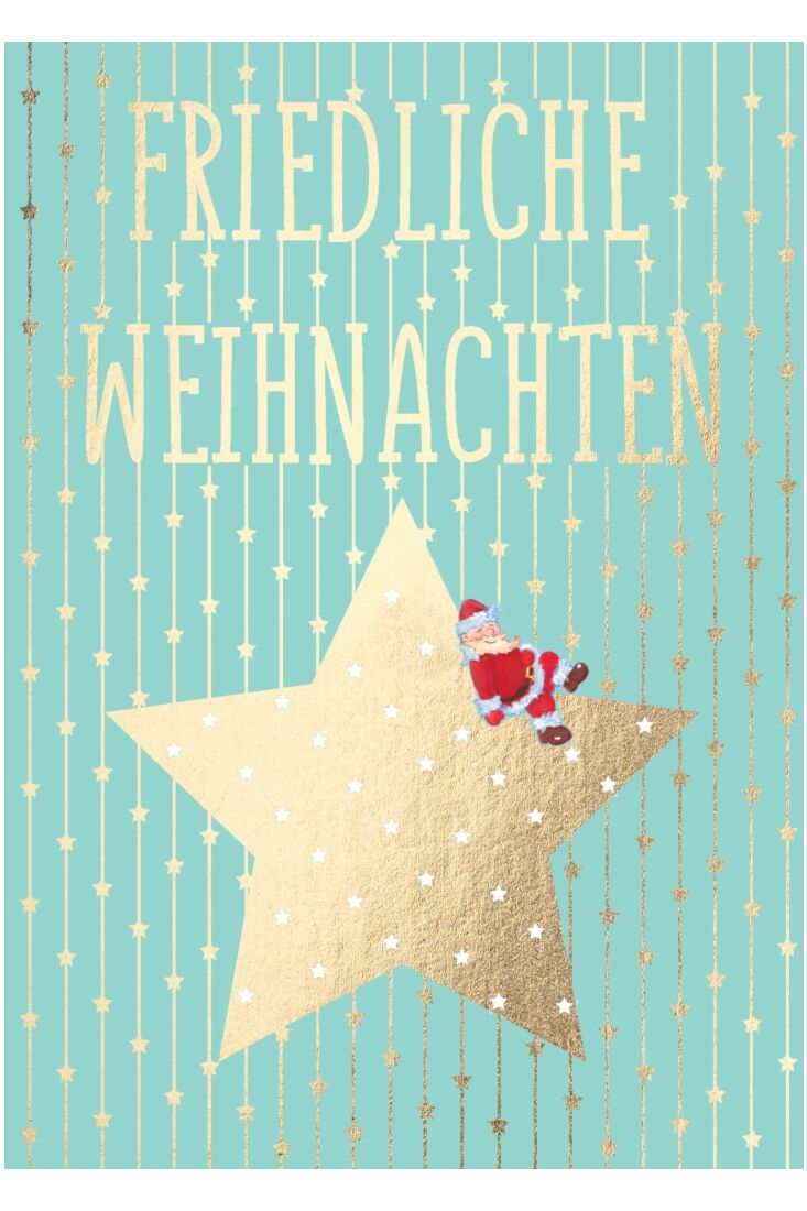 Weihnachtspostkarte Stern m. W-mann - Friedliche Weihnachten