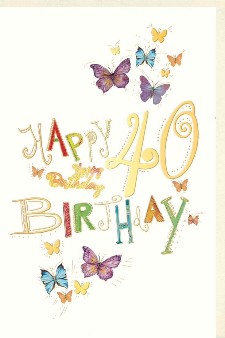 Geburtstagskarte 40 Jahre Schmetterlinge, Naturkarton, mit Goldfolie und Blindprägung