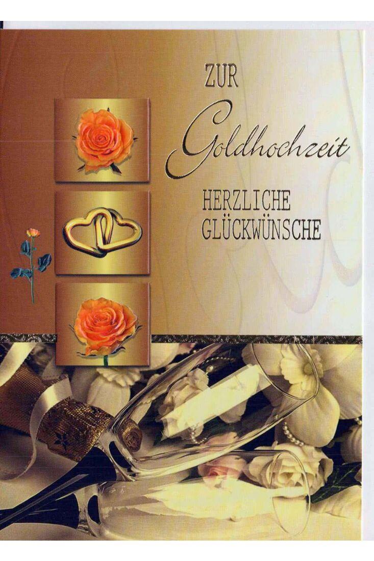 Glückwunschkarte goldene Hochzeit: Gläser