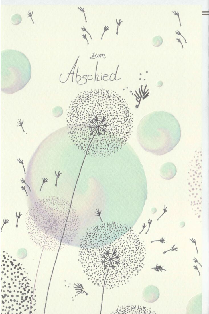 Trauerkarte Pusteblumen, Naturkarton, mit Silberfolie und Blindprägung