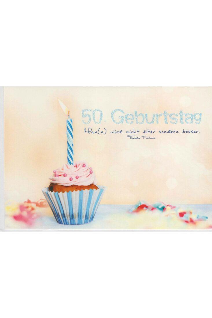 Geburtstagskarte 50 Kerze blau