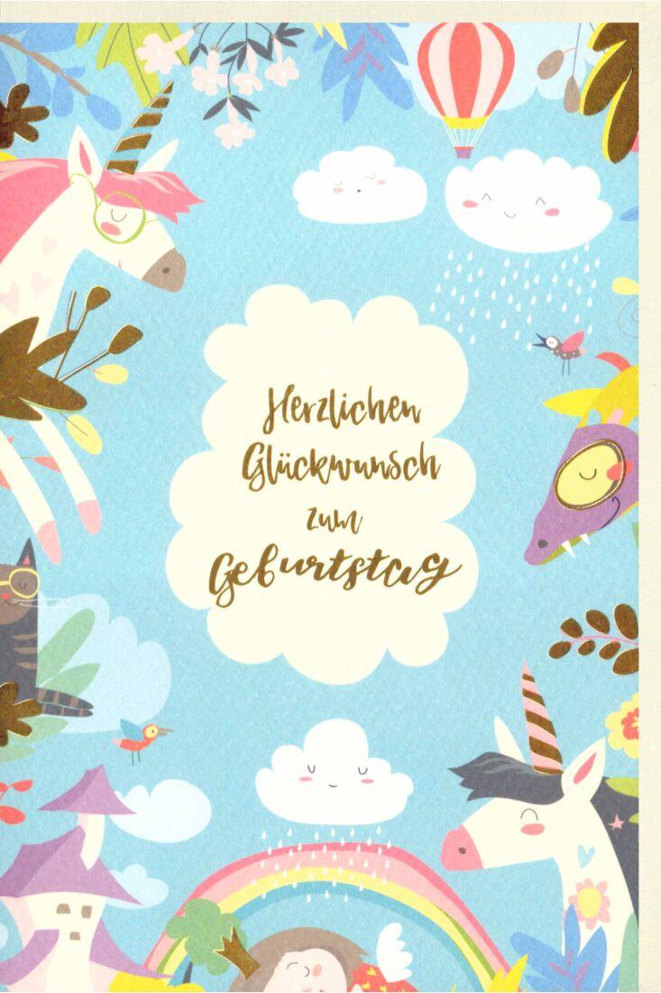 Karte Kindergeburtstag Tiere Himmel blau Wolke