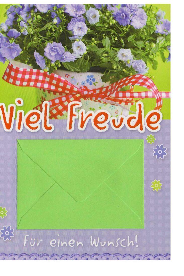 Grußkarte mit Geld-Umschlag viel Freude für einen Wunsch