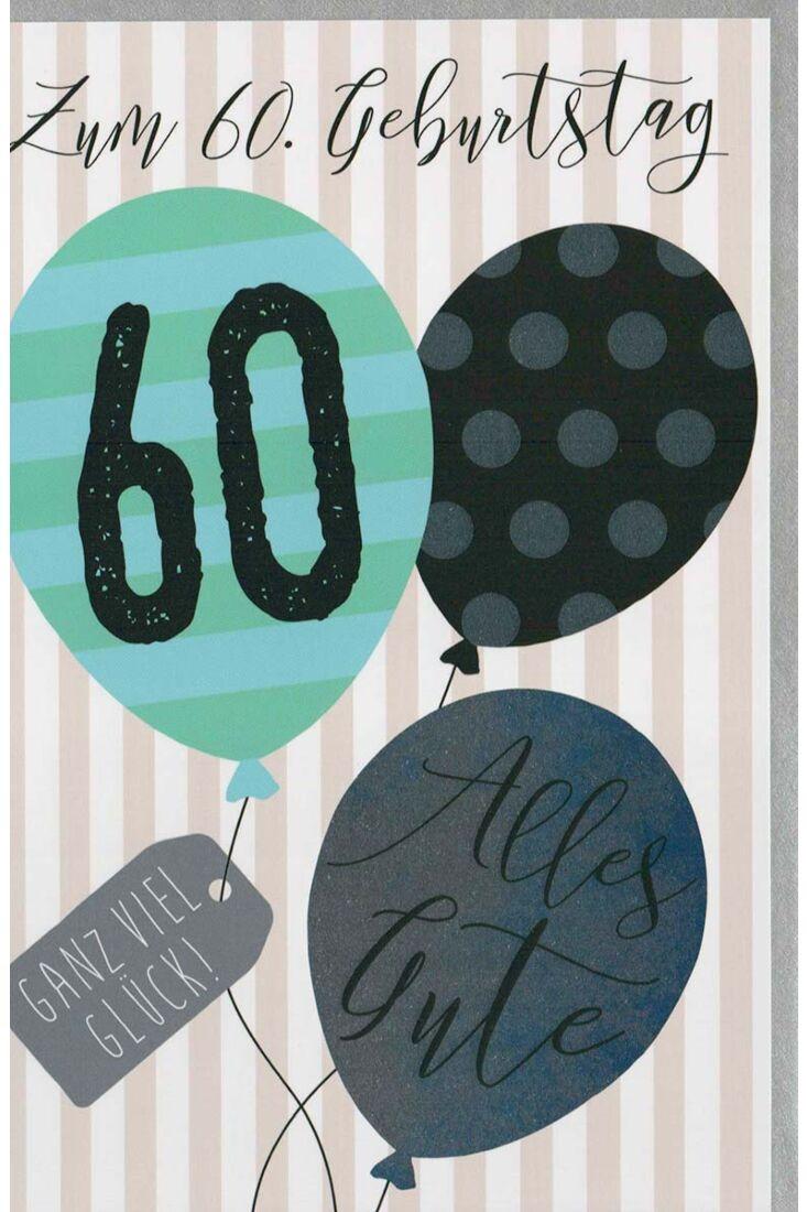 Glückwunschkarte 60 Geburtstag Luftballons