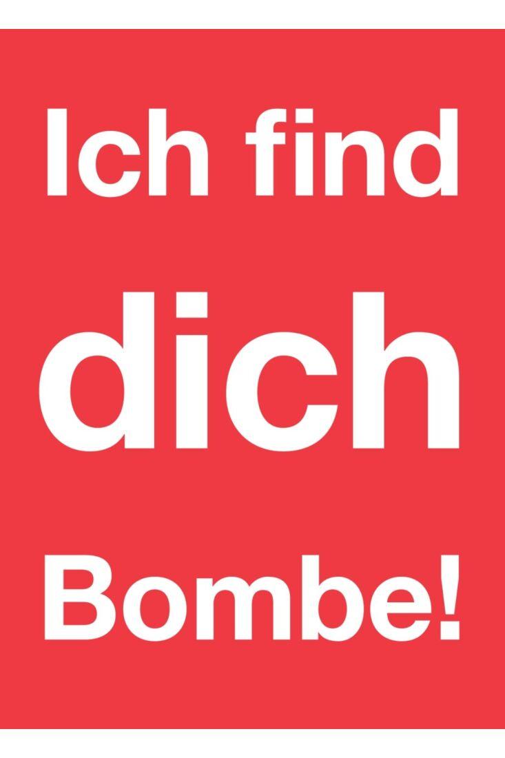 Postkarte Liebe Ich find Dich Bombe!