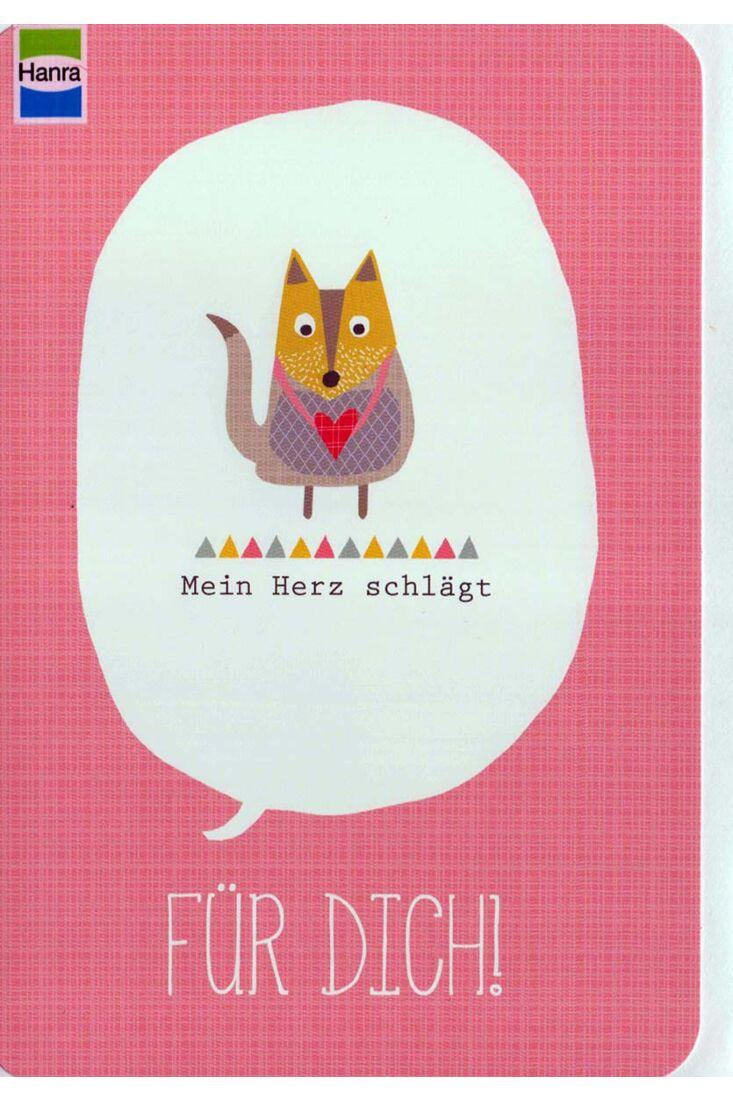 Karte blanko: Fuchs mit Herz