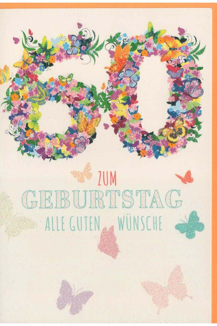 Glückwunschkarte 60 Geburtstag Schmetterlinge
