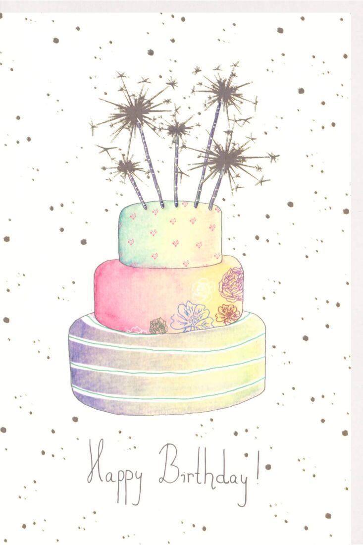 Karte Geburtstag premium Naturkarton Torte Silberfolie