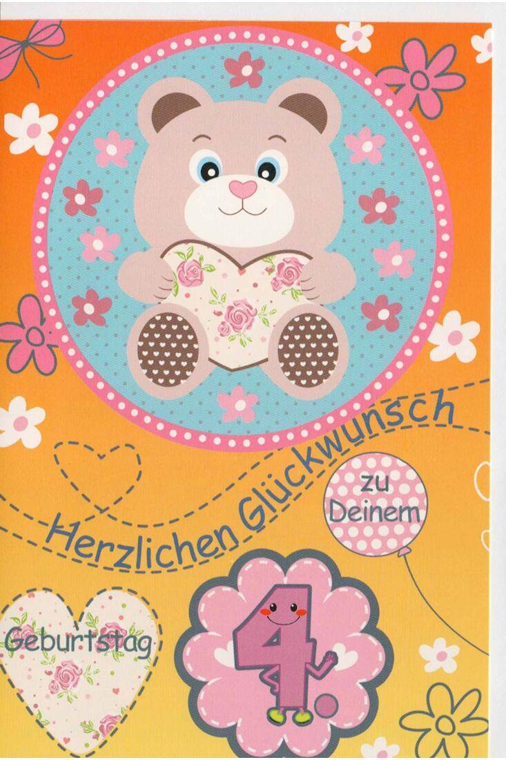 Glückwunschkarte 4 Geburtstag Herzlichen Glückwunsch