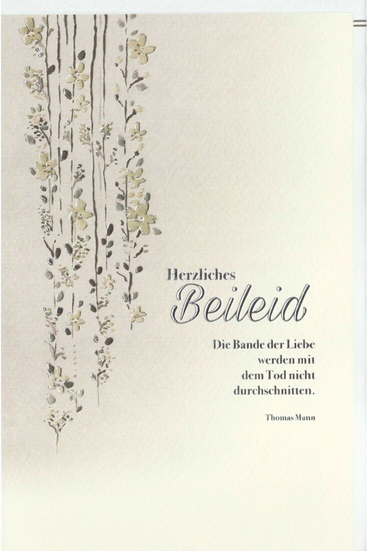 Trauerkarte Blumenranken, Naturkarton, mit Silberfolie und Blindprägung