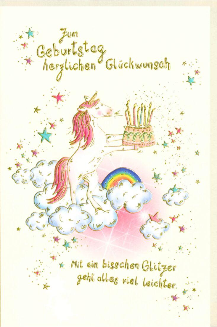 Karte Geburtstag Einhorn ein bisschen Glitzer