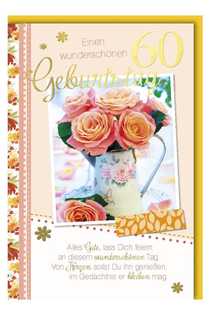 Geburtstagskarte 60 Alles Gute lass dich feiern