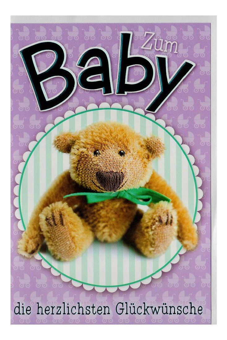 Glückwunschkarte Baby lila Teddybär