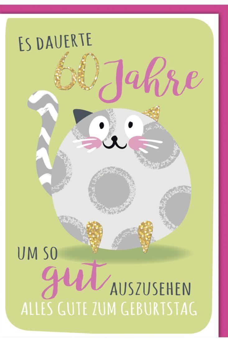 Geburtstagskarte - 60., Runde Katze