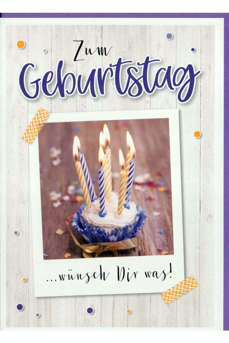 Geburtstagskarte Foto: Cupcake mit Kerzen