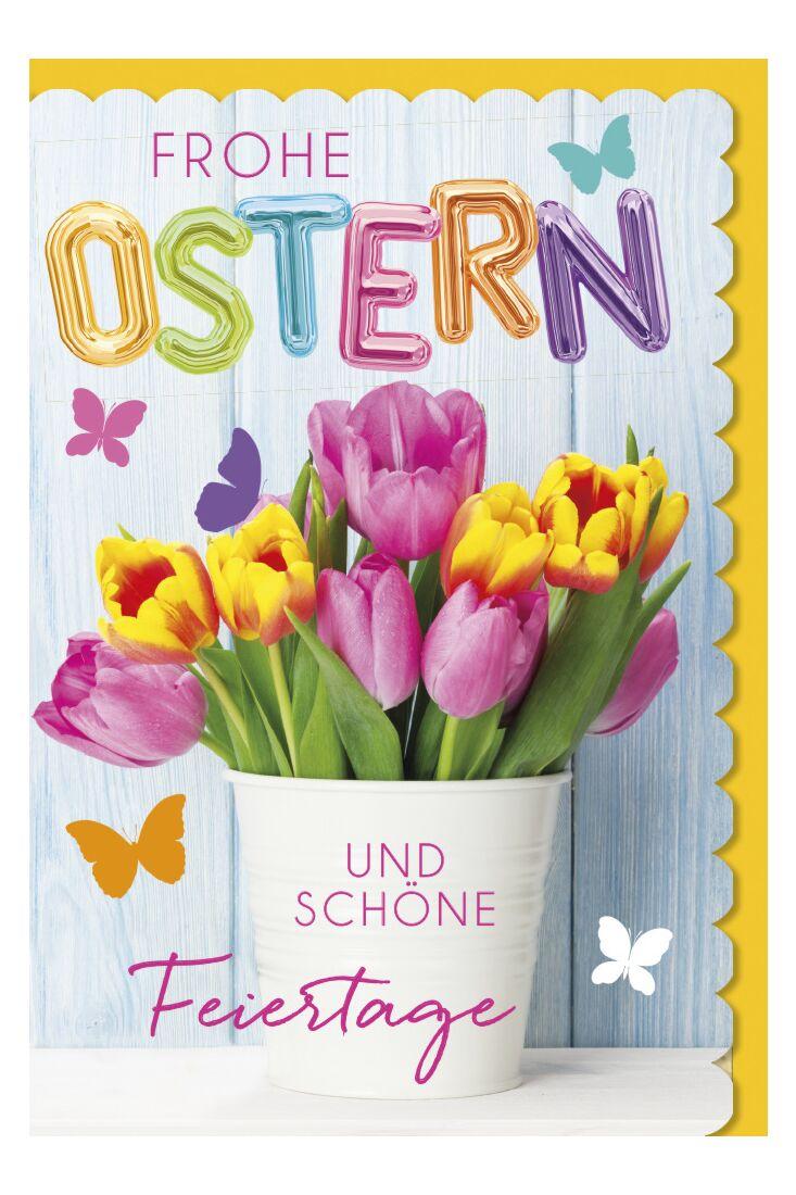 Osterkarte - Rosa und gelbe Tulpen
