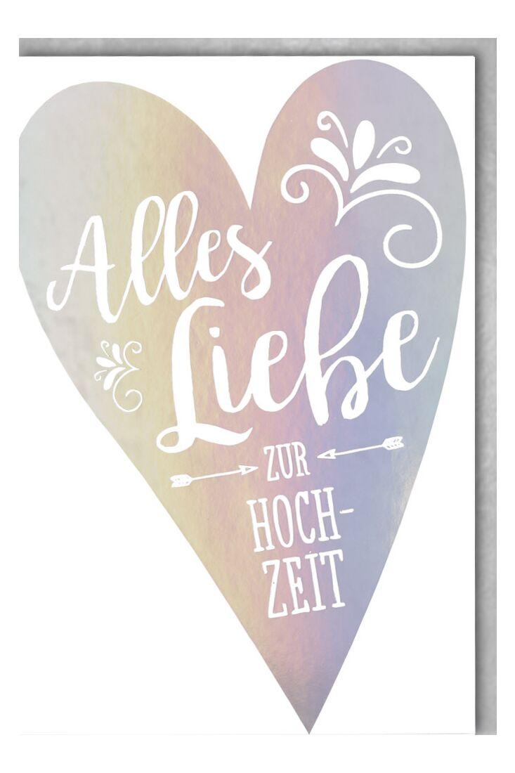 Glückwunschkarte Hochzeit Silberherz