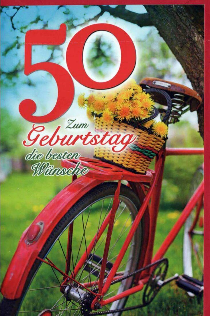 Geburtstagskarte 50 Gebrutstag Land Natur: Fahrrad