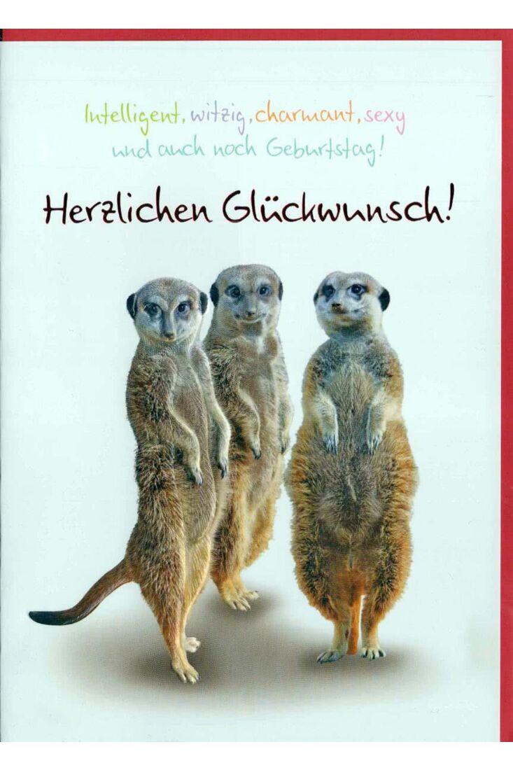 Geburtstagskarte lustig: Herzlichen Glückwunsch Erdmännchen