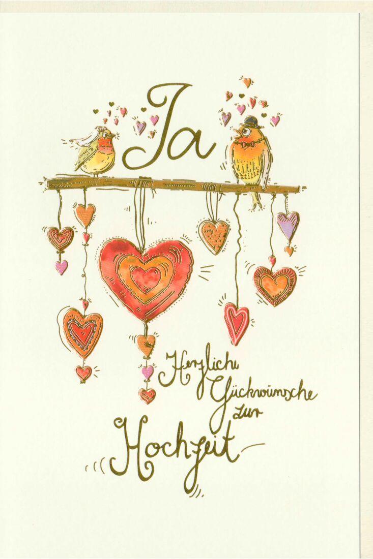 Karte zur Hochzeit Vogelbrautpaar auf Stange, Herzen, Naturkarton, mit Goldfolie und Blindprägung