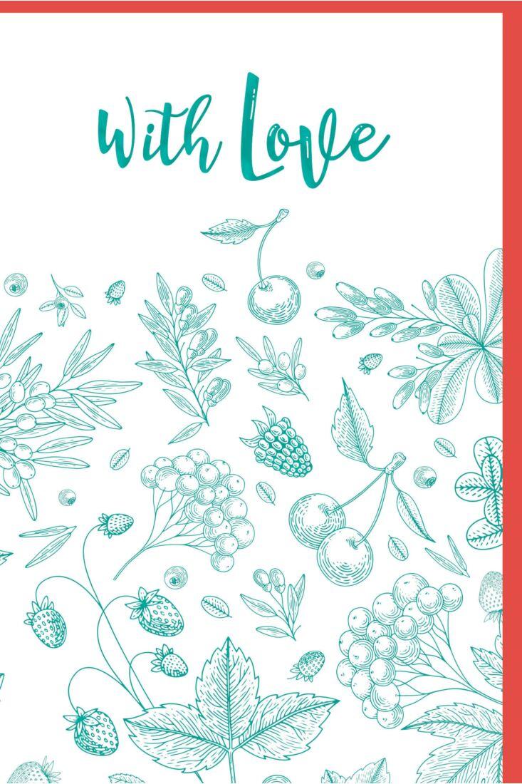 Grußkarte With Love Illustration Blätter