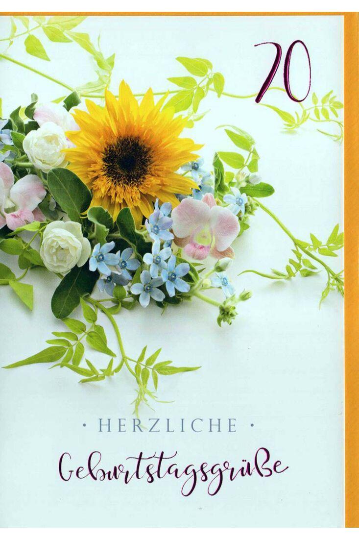 Geburtstagskarte 70. Geburtstag: Blumenstrauß auf gelb