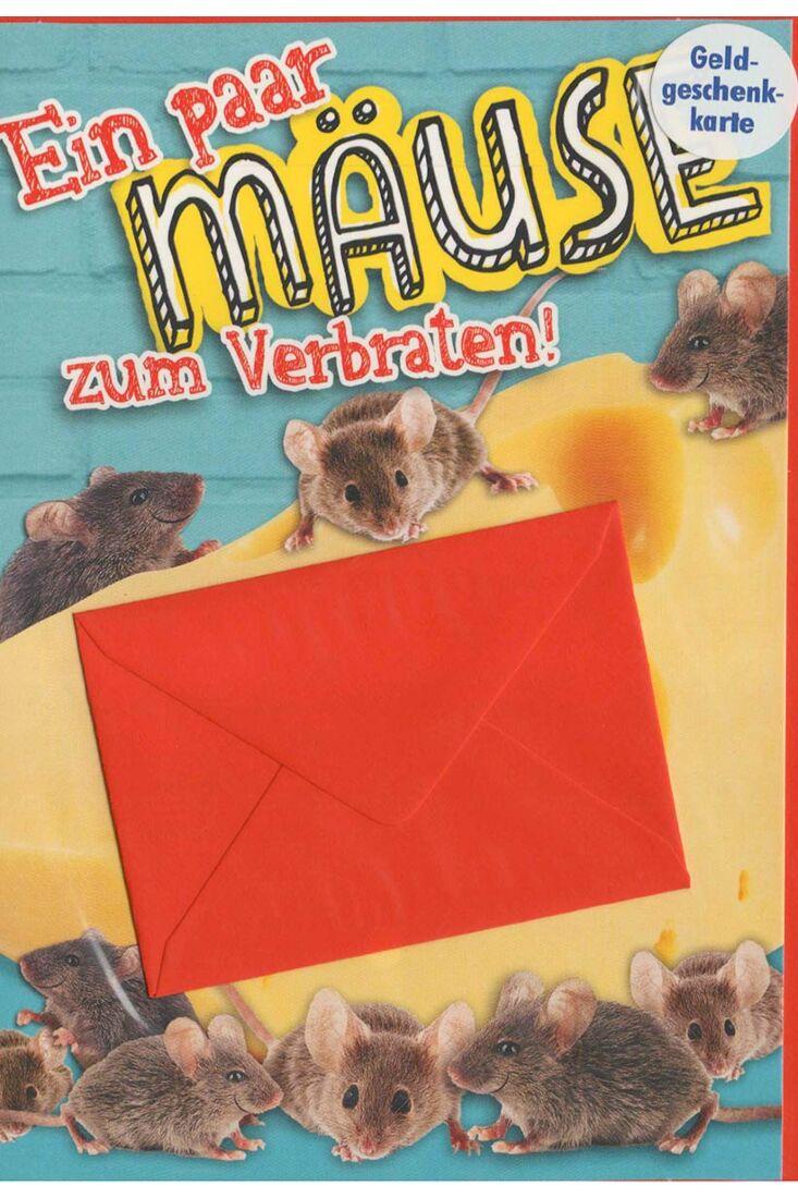 Karte für Geldgeschenk mit Mini-Umschlag: Ein paar Mäuse